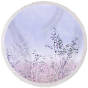 Blue Fog Round Beach Towel by Jenny Rainbow