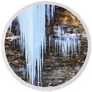 Blue Frozen Icicle Stalactites Round Beach Towel