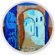 Round Beach Towel featuring the painting Blue Gate by Ana Maria Edulescu