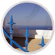 Blue Gate Round Beach Towel by Debi Demetrion
