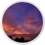 Round Beach Towel featuring the photograph Blue Gold Sunrise by Mark Blauhoefer