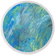 Round Beach Towel featuring the painting Blue Green Abstract by Ania M Milo