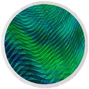 Blue Green Fabric Abstract Round Beach Towel