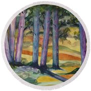 Blue Grove Round Beach Towel