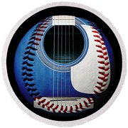 Blue Guitar Baseball Square Round Beach Towel by Andee Design