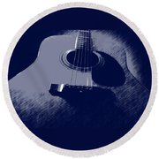 Blue Guitar Round Beach Towel