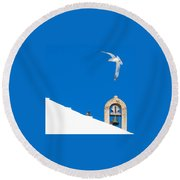 Blue Gull Round Beach Towel