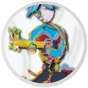 Round Beach Towel featuring the digital art Blue Hair Guitar Player by Marvin Blaine