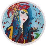Blue Haired Lady Round Beach Towel