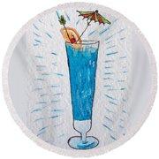 Blue Hawaiian Cocktail Round Beach Towel