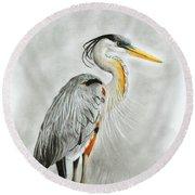Blue Heron 3 Round Beach Towel