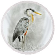 Blue Heron 3 Round Beach Towel by Phyllis Howard