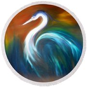 Blue Heron Round Beach Towel by Dorothy Maier