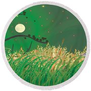 Blue Heron Grasses Round Beach Towel by Kim Prowse