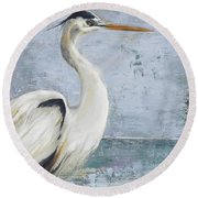 Blue Heron On Blue I Round Beach Towel