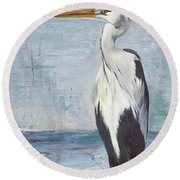 Blue Heron On Blue II Round Beach Towel