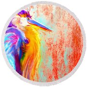Funky Blue Heron Bird Round Beach Towel