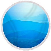 Blue Hills To Mauna Kea Round Beach Towel
