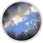 Blue Hole In The Clouds Round Beach Towel