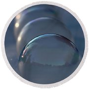 Blue Hour Frozen Bubbles Round Beach Towel by Kenny Glotfelty