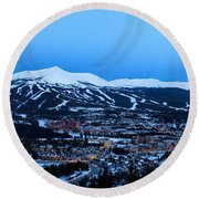 Blue Hour In Breckenridge Round Beach Towel