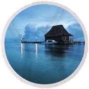 Blue Hour Landscape Round Beach Towel