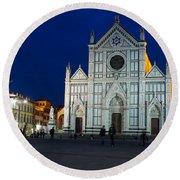 Blue Hour - Santa Croce Church Florence Italy Round Beach Towel by Georgia Mizuleva
