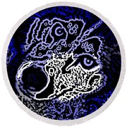 Blue Husky Round Beach Towel by Kevin Caudill