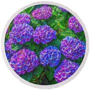 Round Beach Towel featuring the photograph Blue Hydrangea by Hanny Heim