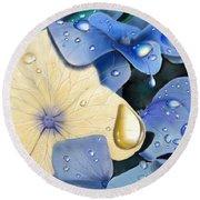 Blue Hydrangeas Round Beach Towel