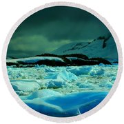 Round Beach Towel featuring the photograph Blue Ice Flow by Amanda Stadther