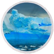 Round Beach Towel featuring the photograph Blue Icebergs by Amanda Stadther