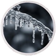 Blue Icicles On Winter Branch Round Beach Towel