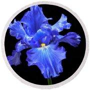 Blue Iris Round Beach Towel by Robert Bales