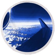 Blue Jet Pop Art Plane Round Beach Towel