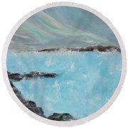 Blue Lagoon Iceland Round Beach Towel by Judith Rhue