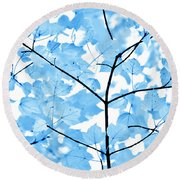 Blue Leaves Melody Round Beach Towel