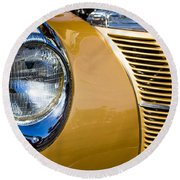 Blue Light On Gold Car Round Beach Towel