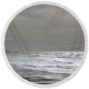 Blue Lighthouse View Round Beach Towel by Susan Garren