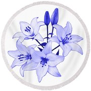 Round Beach Towel featuring the photograph Blue Lily by Jane McIlroy