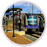 Round Beach Towel featuring the photograph Blue Line by Rodney Lee Williams
