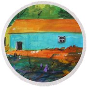 Round Beach Towel featuring the painting Blue Long Barn by John Williams