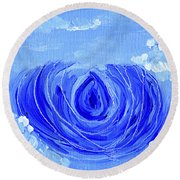 Blue Lotus In The Sky Round Beach Towel
