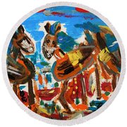 Round Beach Towel featuring the painting Blue Manes And Yellow Saddles by Mary Carol Williams