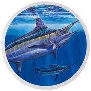Blue Marlin Bite Off001 Round Beach Towel by Carey Chen