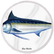 Blue Marlin Round Beach Towel by Charles Harden