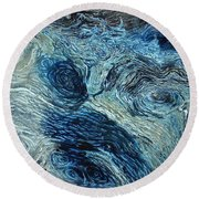 Blue Maze 1 Round Beach Towel
