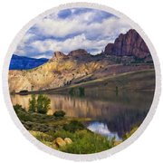 Blue Mesa Reservoir Digital Painting Round Beach Towel