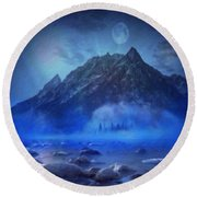 Blue Mist Rising Round Beach Towel