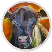 Blue Moo Round Beach Towel